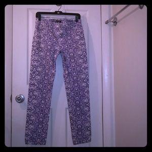 WHBM Blue Print Slim Ankle Jeans
